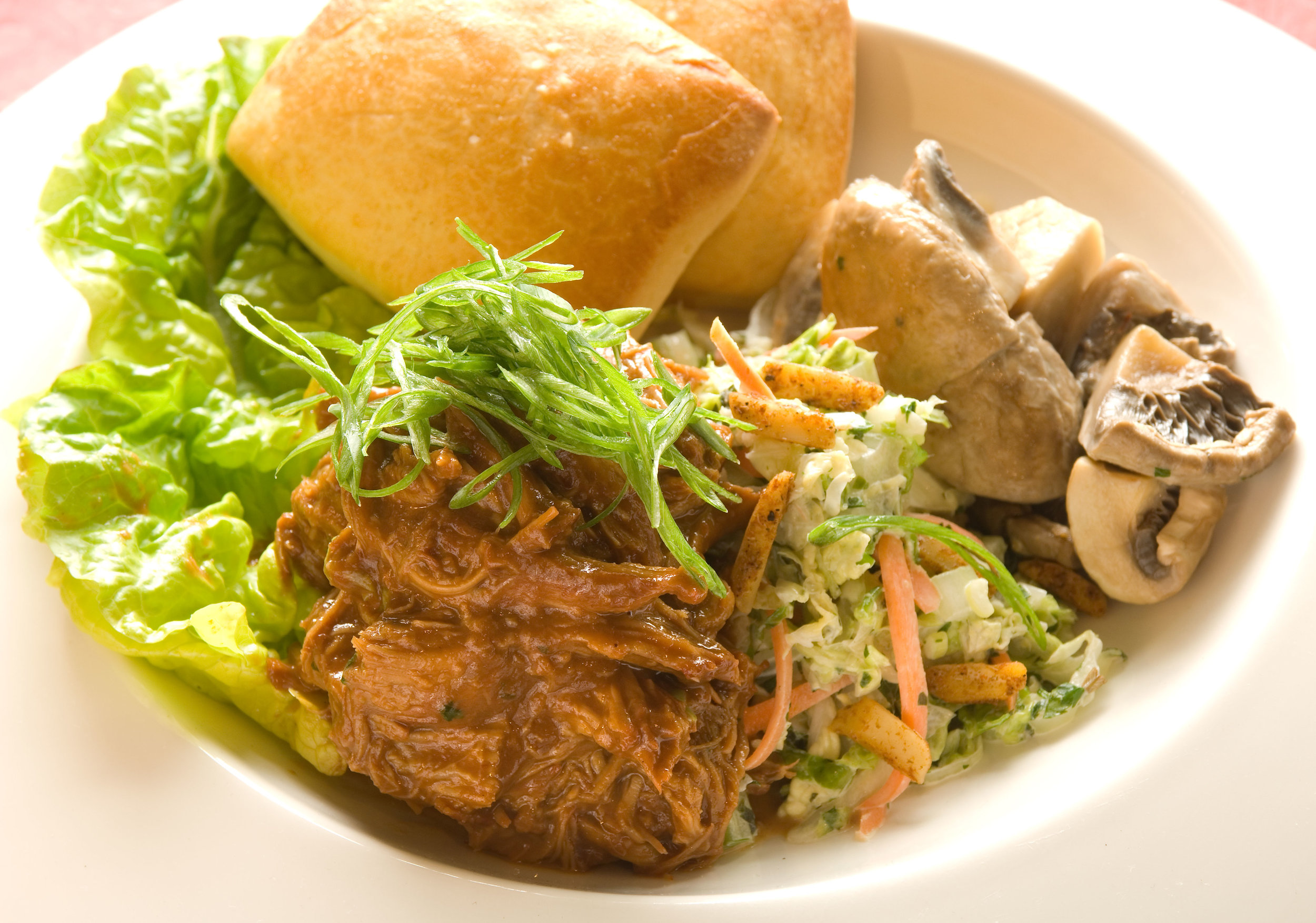 Braised Tea-Smoked Veal Shoulder with Napa Coleslaw and Potato Buns