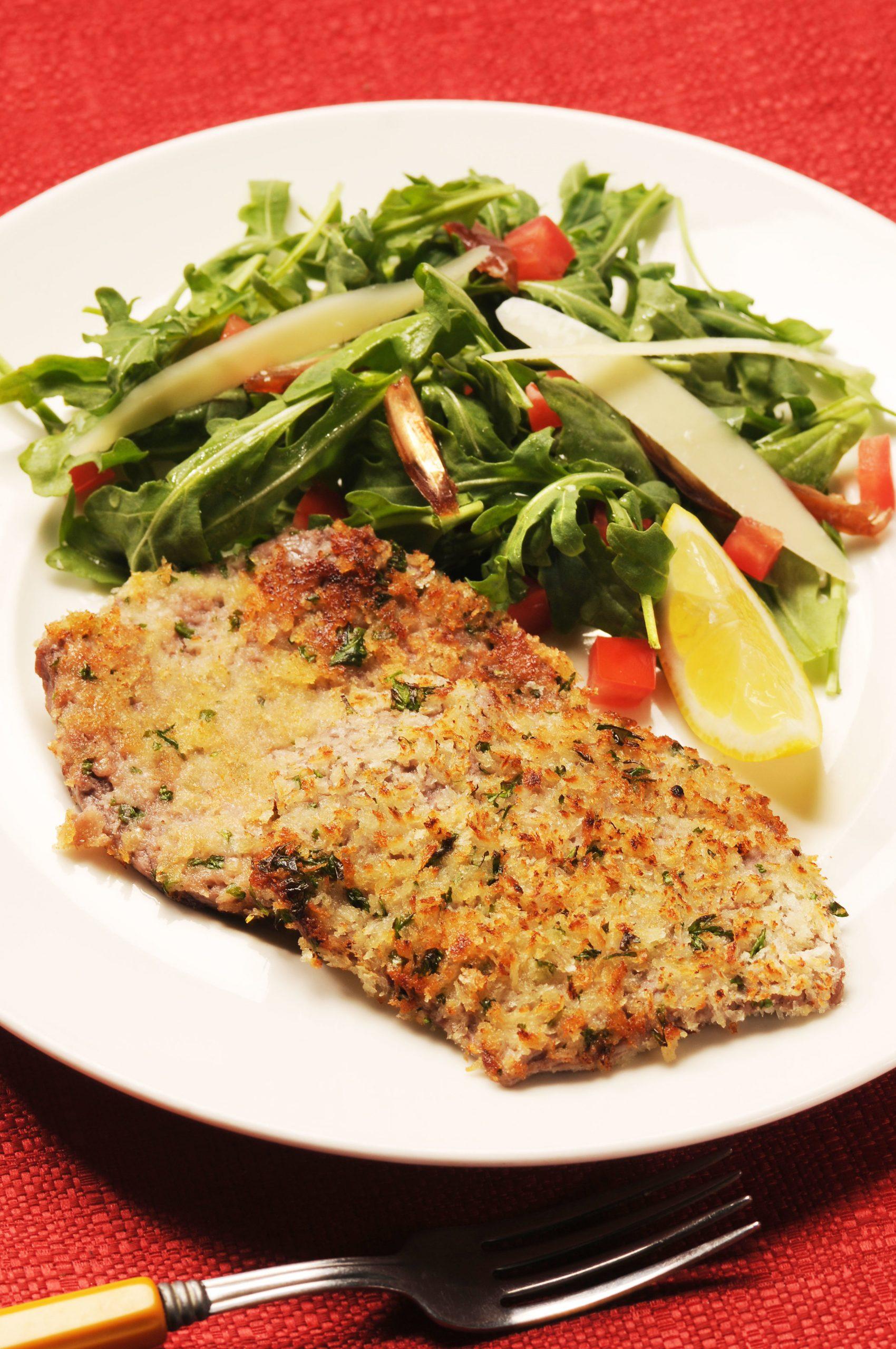 Gremolata Veal Cutlets with Arugula Salad