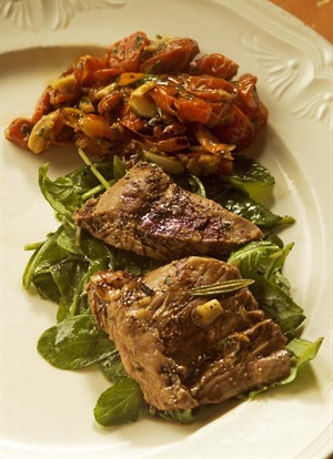 Grilled Veal Skirt Steaks with Baby Arugula Salad and Balsamic Syrup