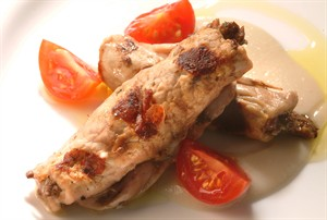Mushroom Stuffed Veal Rolls with White Beans & Tomatoes