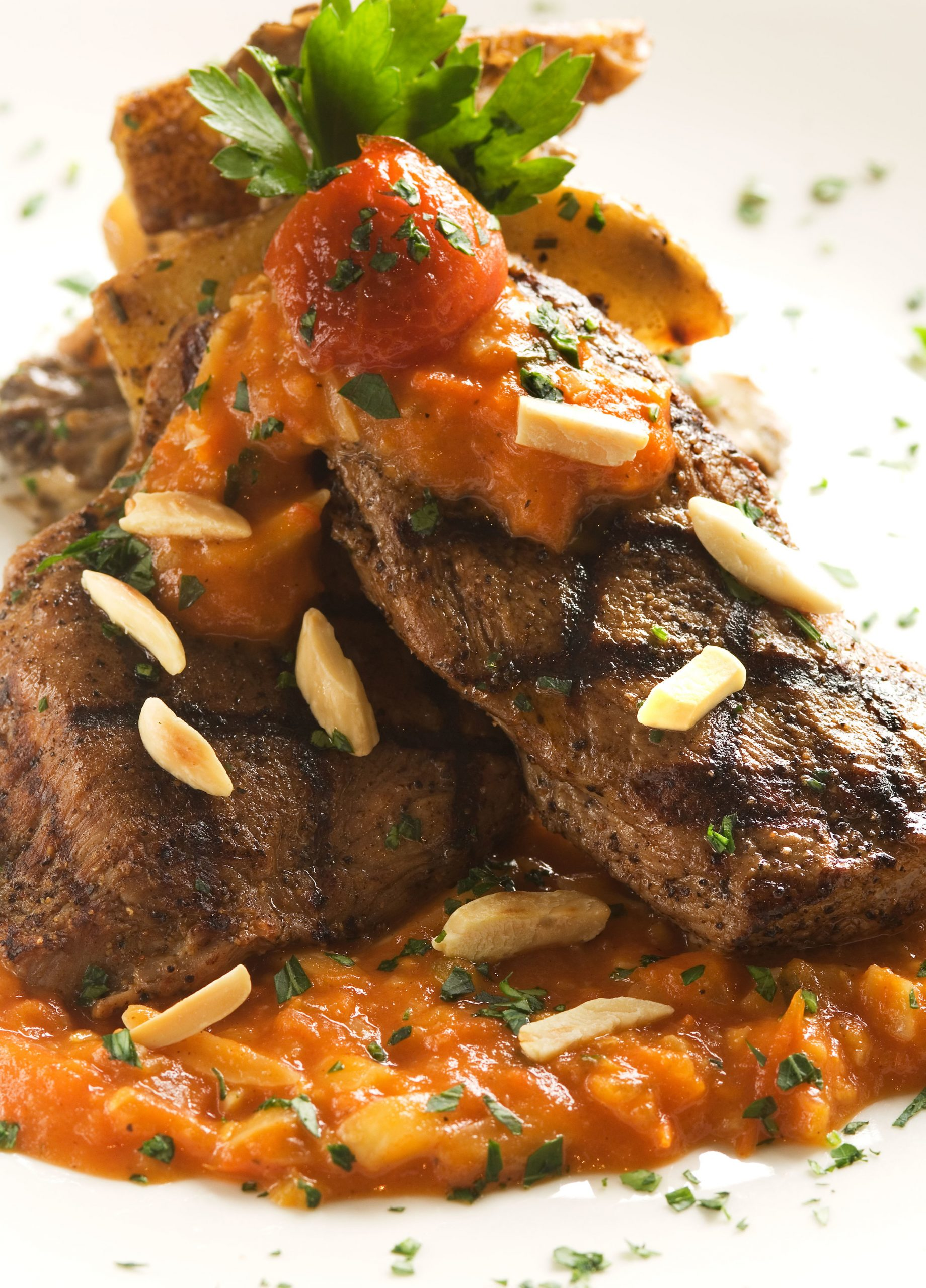 Sweet and Spicy Veal Romesco with Maitake-Potato Medley