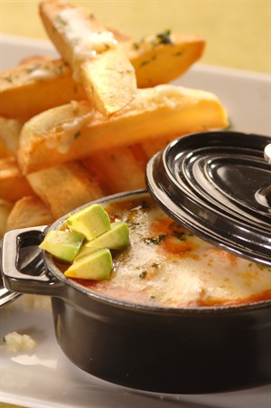 Veal Chili with Cheddar-Jack Cheese Fries