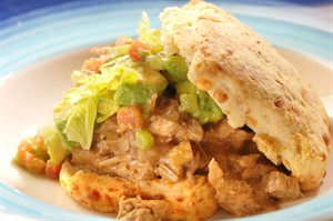 Veal Shoulder Stew on Buttermilk Biscuits with Avocado Salsa