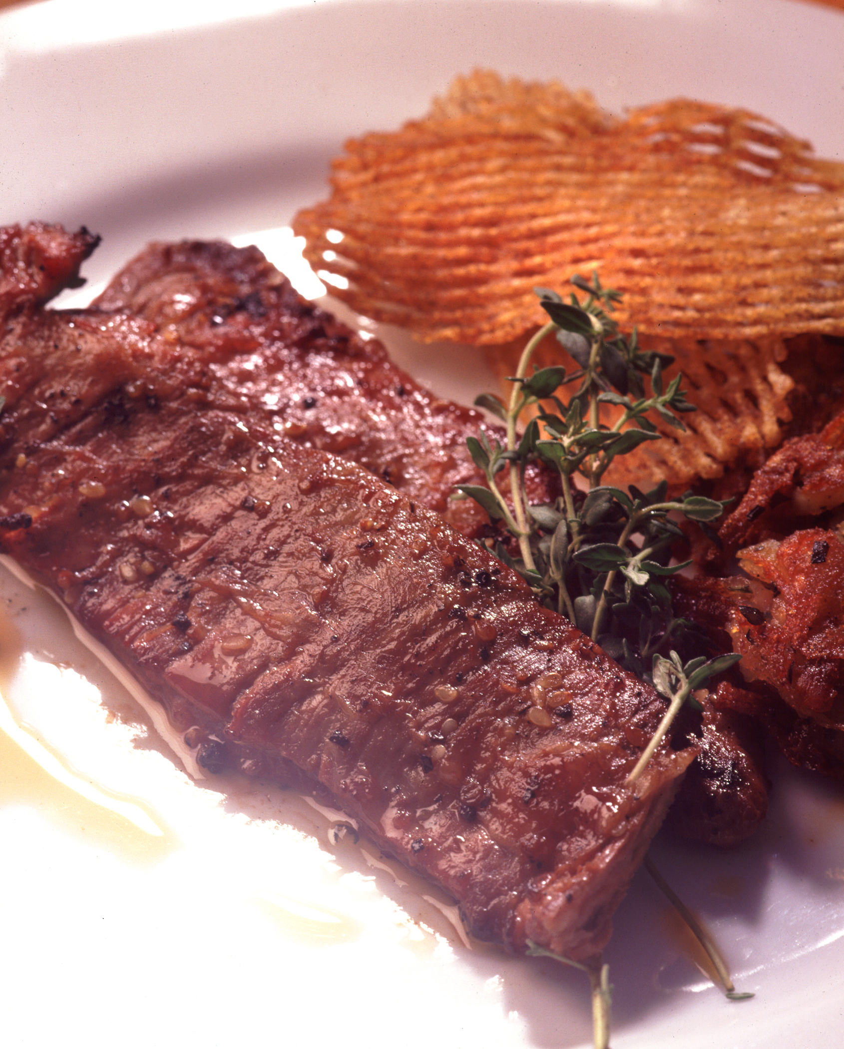 Veal Skirt Steaks with Asian Spices and Lobster Hash Cakes