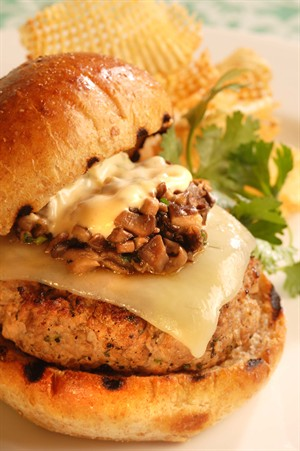 Veal Steak Burger with Tabasco Chipotle Pepper Sauce