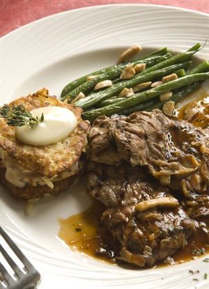 Veal Steaks with Wild Mushroom Demi Glace, Potato-Brie Napolean and Haricot Vert Amandine