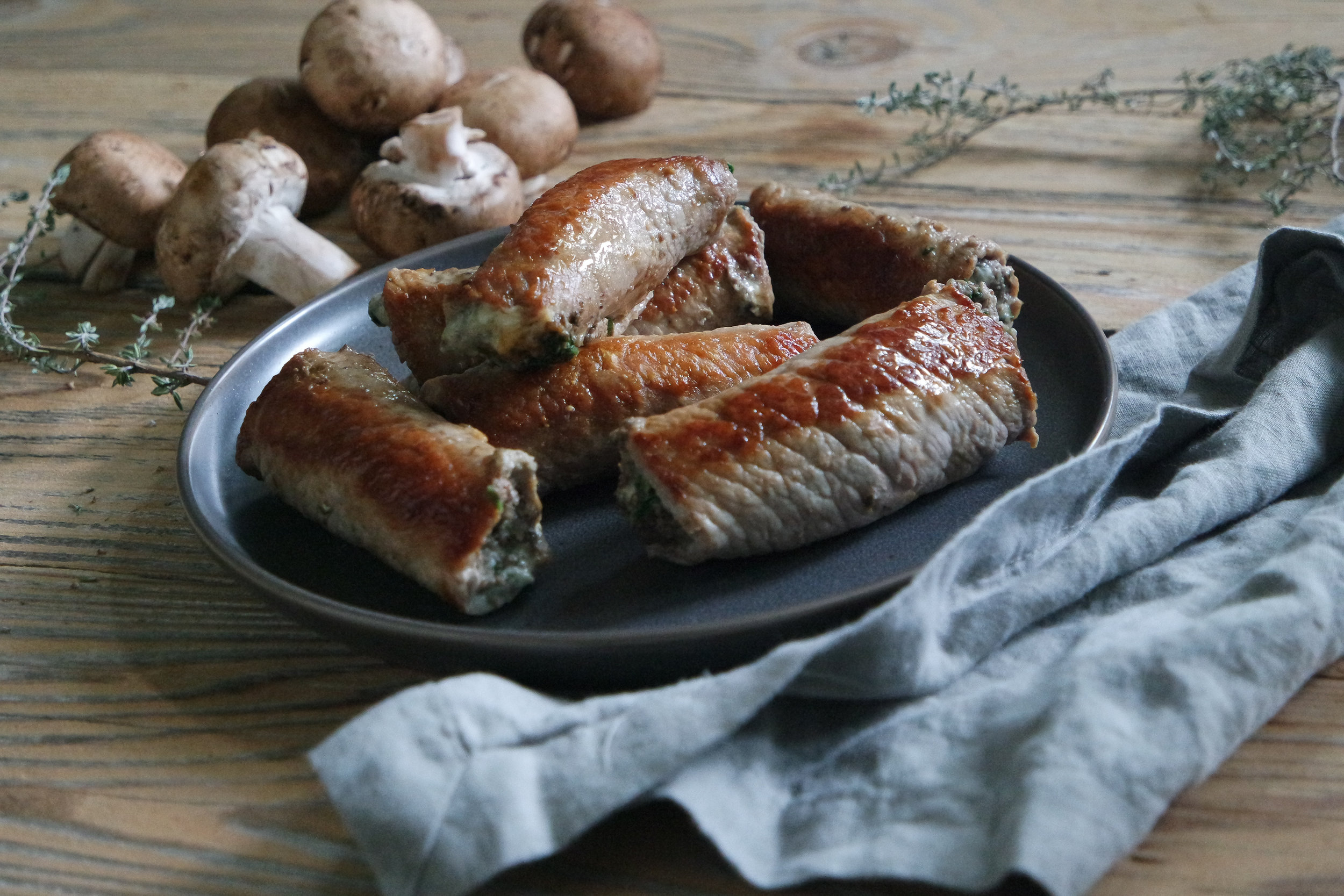 Stuffed Veal Wraps with Mushrooms and Blue Cheese