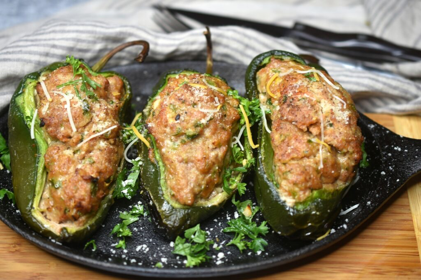 Grilled Meatloaf Stuffed Peppers